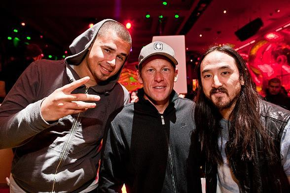 Lance Armstrong with DJs Afrojack and Steve Aoki at Surrender Nightclub