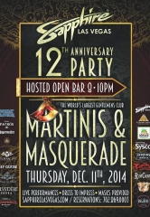 Celebrate Sapphire Las Vegas' 12th Anniversary with a Martini's & Masquerade Party Dec. 11