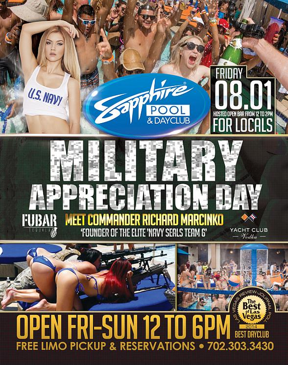 "Meet CDR Richard Marcinko, Founder of Navy Seals Team 6 on ""Military Appreciation Day"" at Sapphire Pool & Day Club August 1"