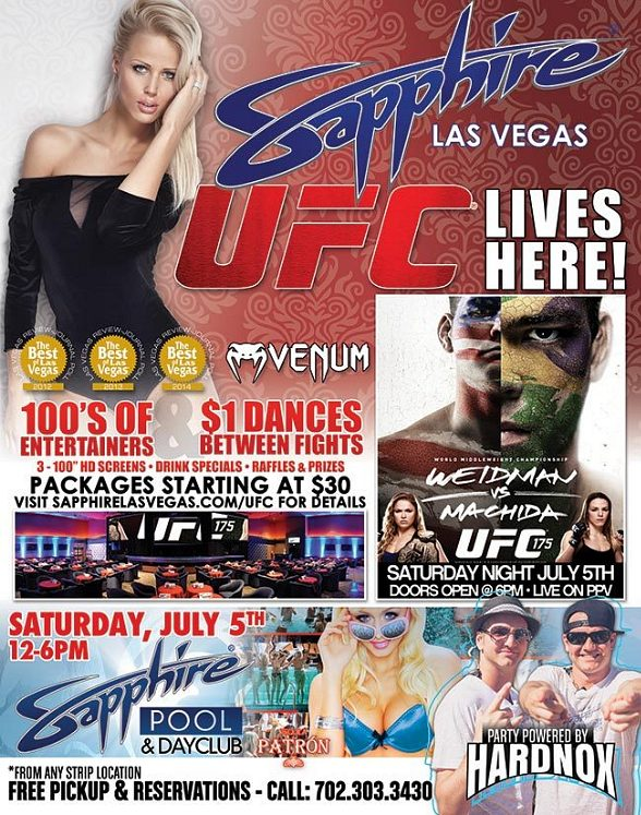 Watch UFC 175: Weidman vs Machida Live on PPV at Sapphire Las Vegas Saturday, July 5