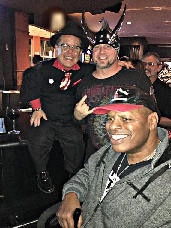 """""""Pitboss"""" star Shorty Rossi with """"Counting Cars"""" star Horny Mike and former Heavyweight Champ Leon Spinks at the Longbar inside the D Las Vegas"""