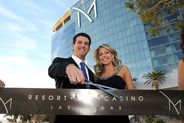Chairman and CEO Anthony A. Marnell III, with wife Lyndy, cut the ceremonial ribbon at the M Resort Spa Casino March 1, 2009