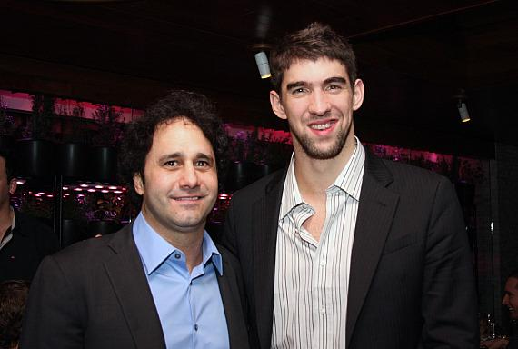 Palms Casino Resort owner George Maloof & Michael Phelps  (Photo credit: Sarah Feldberg)