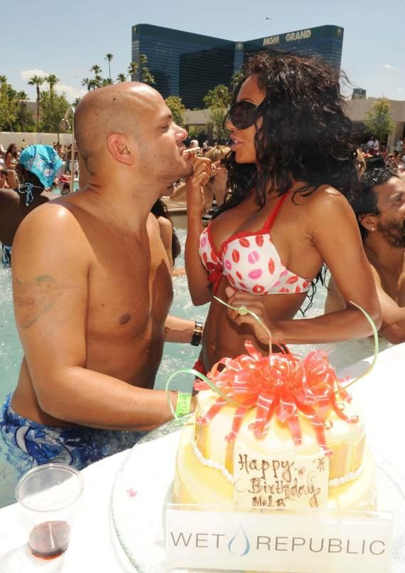 Mel B with husband and birthday cake