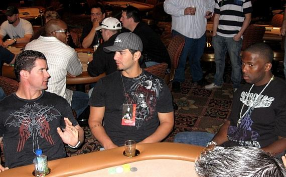 Michael Young, Eric Chavez and Milton Bradley at the poker table in The Venetian Poker Room