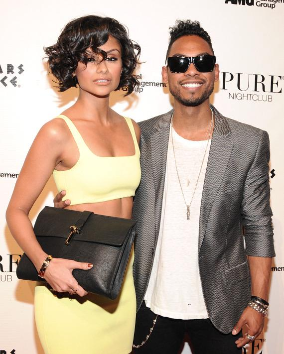 Nazanin Mandi and Miguel on red carpet at PURE Nightclub