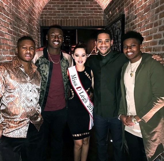 MLB players Adron Chambers, Kyle Lewis, Miss D Legs Ashley, Tommy Pham and Anthony Ray at Andiamo Italian Steakhouse Las Vegas