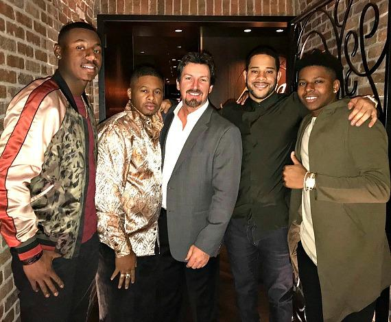 MLB players Kyle Lewis, Adron Chambers and Casino Executive Richard Wilk with Tommy Pham and Anthony Ray at Andiamo Las Vegas