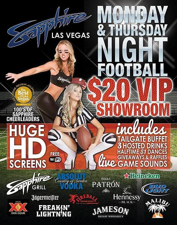 Watch Monday & Thursday Night Football at Sapphire Las Vegas
