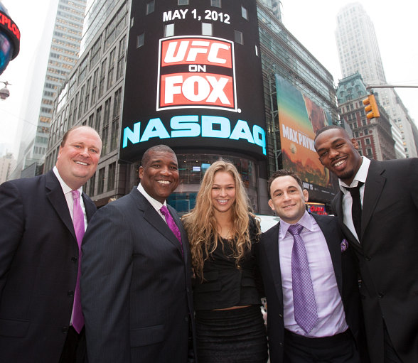 Second left to right:; Curt Menefee, UFC On FOX anchor; Ronda Rousey, Strikeforce Women's champ; Frankie Edgar, former UFC lightweight champ and Jon Jones, UFC light heavyweight champ.