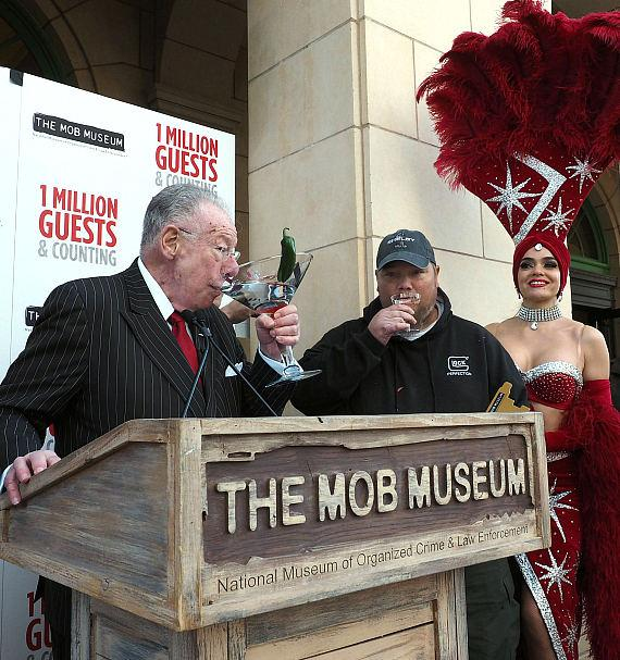 Former may Oscar Goodman with Billy Tveitnes of Las Vegas, 1 millionth visitor to The Mob Museum