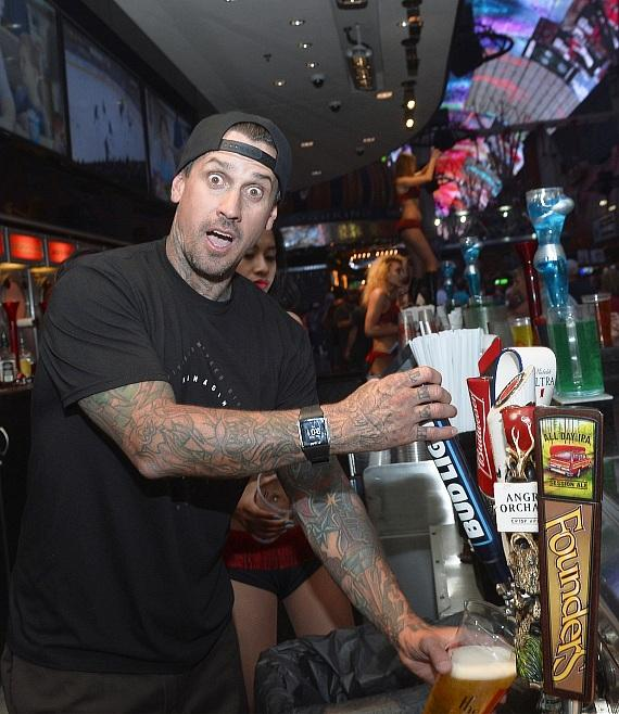 Motocross Legend Carey Hart bartending for charity at the D Casino Las Vegas