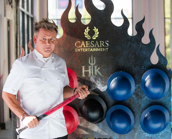 Gordon Ramsay Visits Construction Site of Gordon Ramsay Hell's Kitchen Restaurant at Caesars Palace in Las Vegas