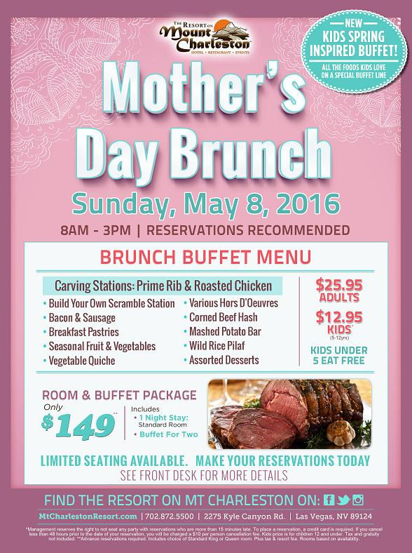 Special Mother's Day Brunch at the Scenic Resort on Mount Charleston