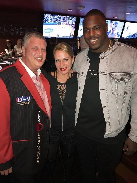 NFL Malik Jackson, the D Owner Derek Stevens and his wife Nicole Parthum at Golden Gate Hotel Casino Las Vegas