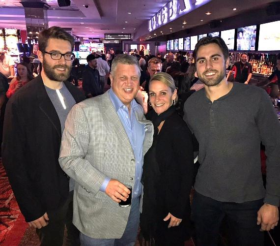 NHL Florida Panthers Ian McCoshen and Vegas Golden Knights Alex Tuch with Casino Owner Derek Stevens and wife Nicole