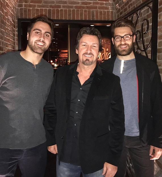 NHL Vegas Golden Knights Alex Tuch and Florida Panthers Ian Mccoshen with Richard Wilk inside Andiamo Italian Steakhouse Las Vegas
