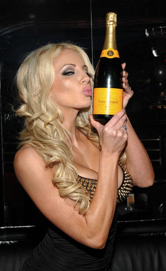 Nicolette Shea toasts to 2013 with a bottle of Veuve Clicquot Champagne