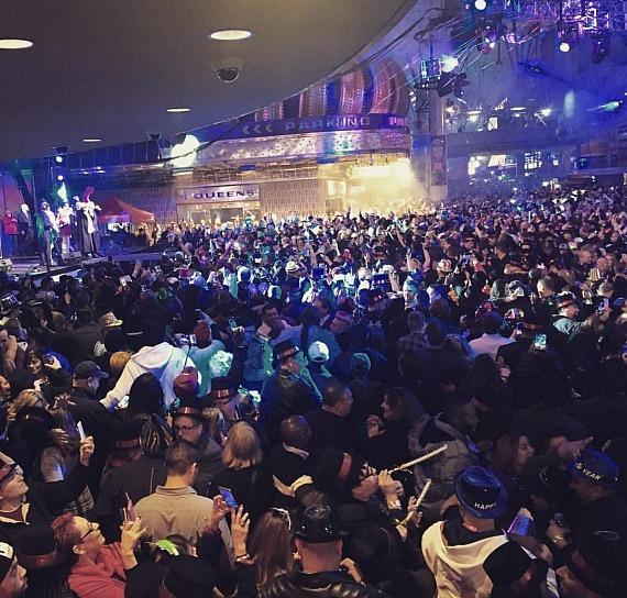 New Year's Eve 2017 crowd outside the D Casino Hotel in Las Vegas