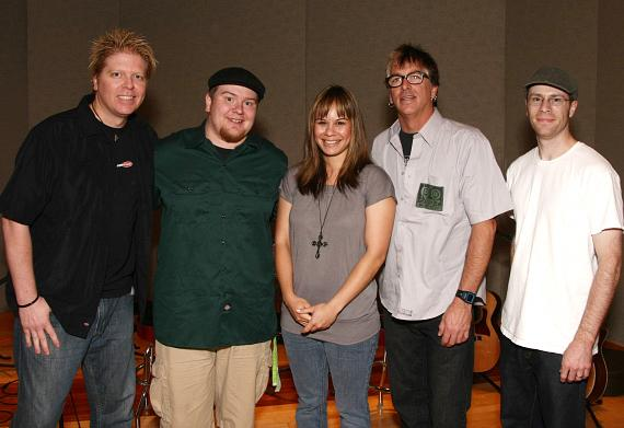 "Offspring members Dexter and Noodles with fans at ""Studio at the Palms"""