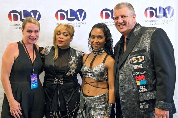 "Owner Derek Stevens (right) with wife Nicole Parthum (left) and TLC for Meet & Greet at Downtown Las Vegas Events Center for ""I Love The 90s"""