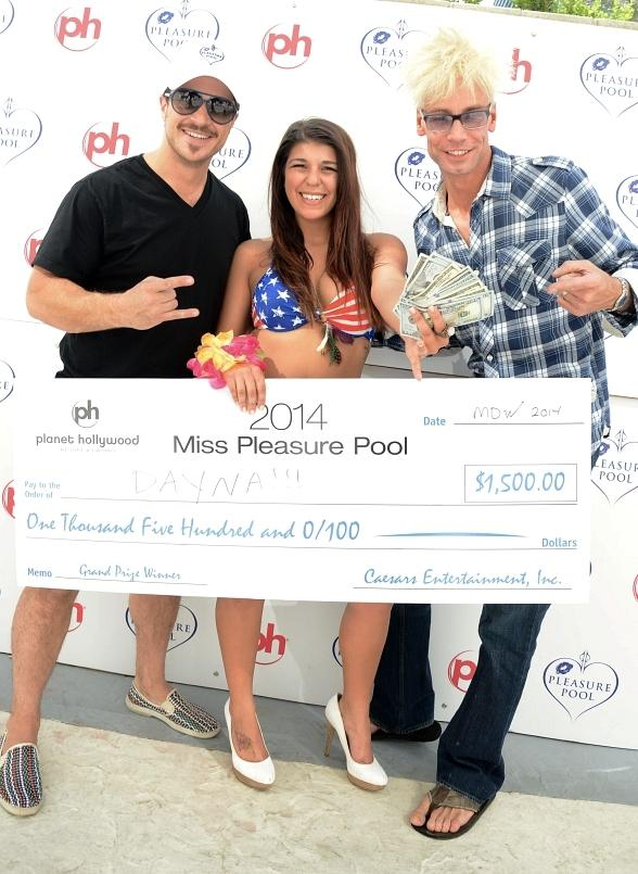 Mark Shunock, contest winner Dayna Kasprzycki and Murray SawChuck at 5th Annual Pleasure Pool Bikini Contest at Planet Hollywood Resort & Casino