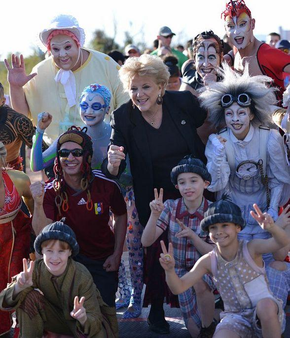 Las Vegas Mayor Carolyn Goodman with Cirque du Soleil characters