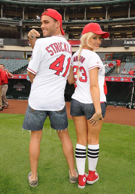 Josh Strickland and Holly Madison at Anaheim Stadium