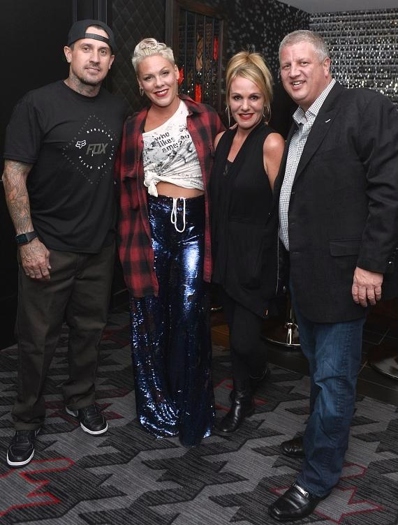 Carey Hart, Pink, Nicole Parthum and casino owner Derek Stevens at the D Casino Hotel Las Vegas