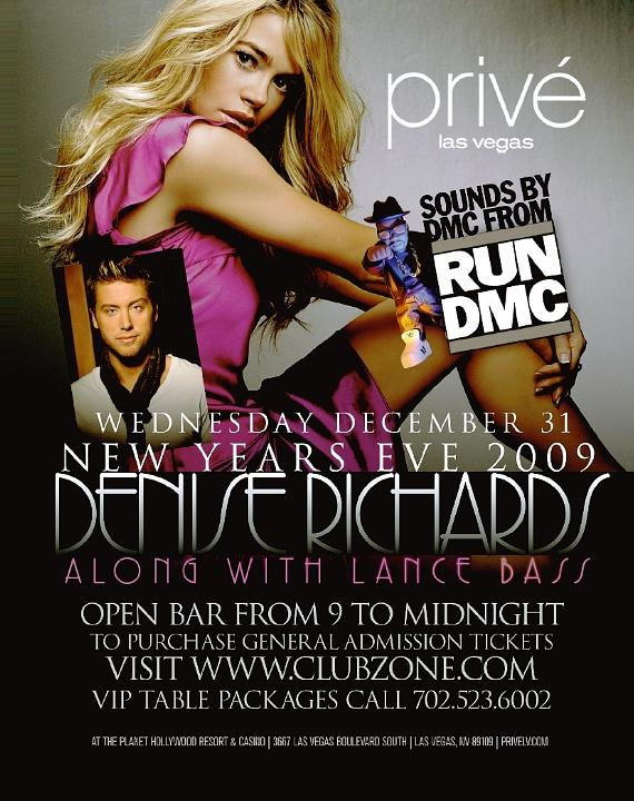 Denise Richards and Lance Bass Count Down to 2009 at Privé Las Vegas