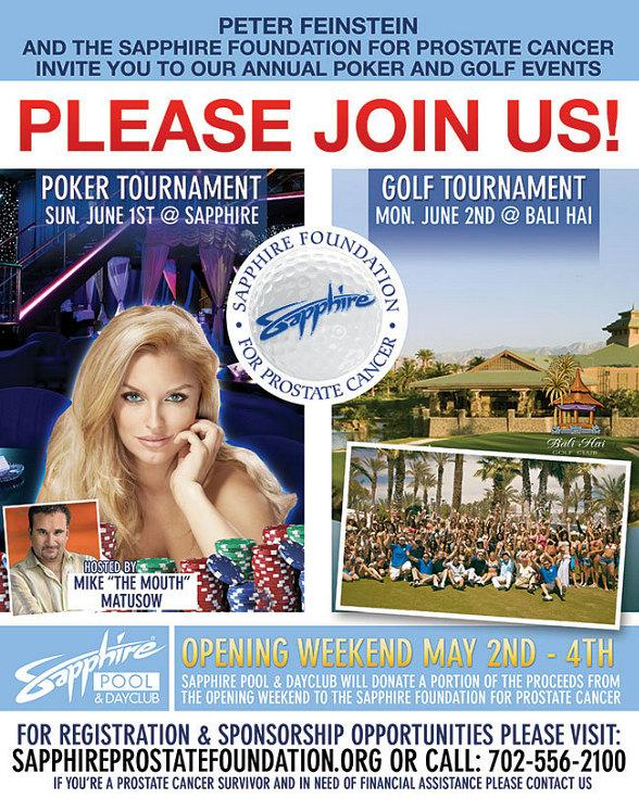 Peter Feinstein and The Sapphire Foundation for Prostate Cancer Invite You to Annual Poker and Golf Events June 1-2