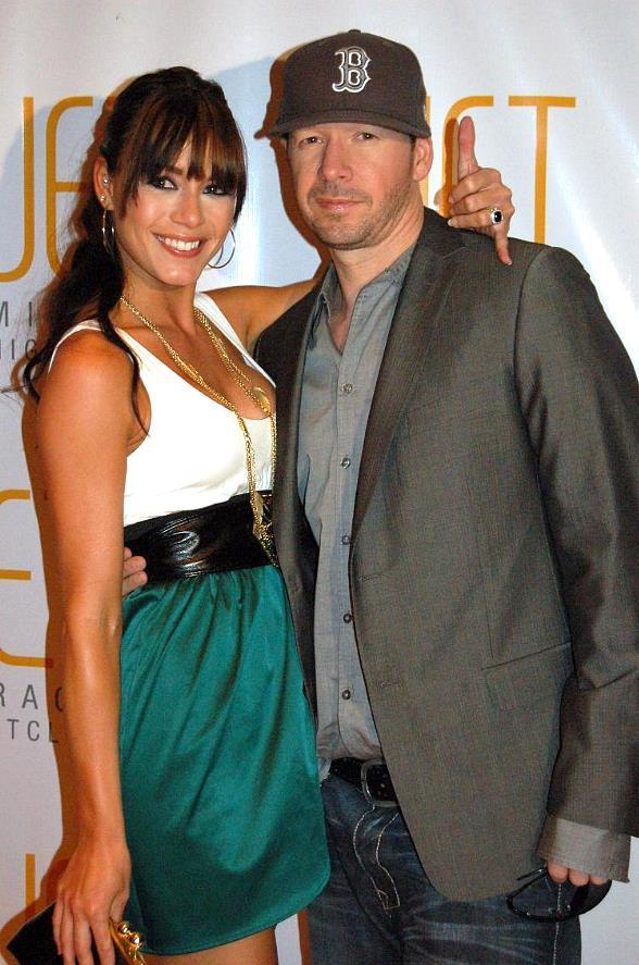 UFC ring girl Rachel Leah with Donnie Wahlberg at JET