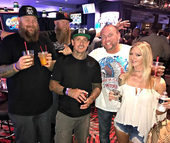 Rapper Big B, Carey Hart and Horny Mike with friends at The D Casino Hotel Las Vegas