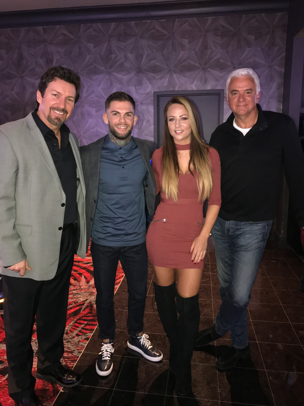 The D Executive Richard Wilk with UFC Champ Cody Garbrandt, WWE Emma and actor John O'Hurley at the D Casino Hotel Las Vegas