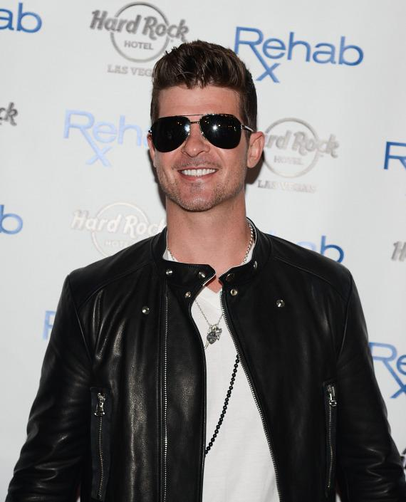 Robin Thicke on red carper at Rehab Pool Party at Hard Rock Hotel Las Vegas