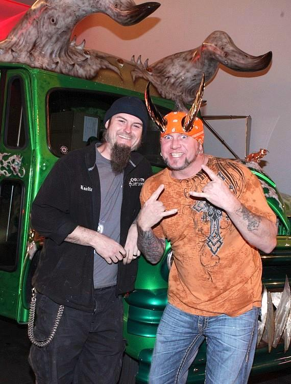 """Ryan Evans and Horny Mike of Counting Cars with the """"Horny Bus"""" at the D Casino Hotel Las Vegas"""