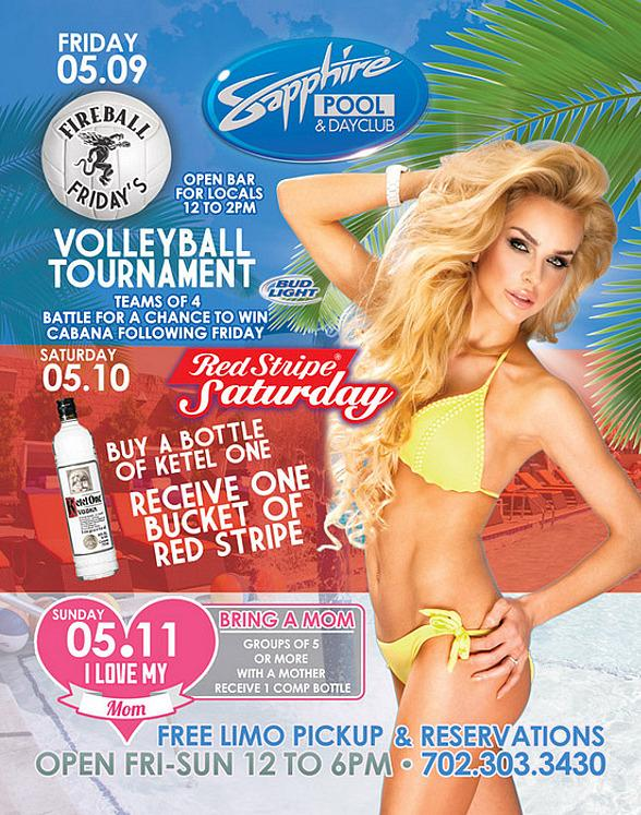 "Join Sapphire Pool & Day Club this Weekend for Volleyball Tournament on Friday, Red Stripe Giveaway on Saturday and ""I Love My Mom"" on Sunday"