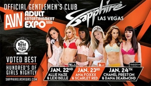AVN Teams Up with Sapphire Gentlemen's Club Las Vegas for Three Nights of AEE Parties