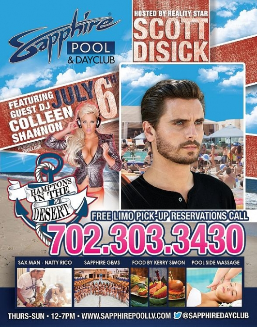 Reality Star Scott Disick to Host Sapphire Pool & Dayclub on Saturday, July 6