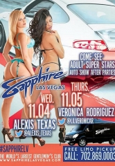 SEMA Week at Sapphire Las Vegas – Adult Super Star Alexis Texas to Host on Nov. 4; Veronica Rodriguez Nov. 5