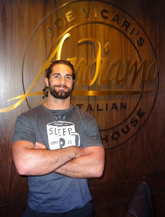 Seth Rollins WWE Superstar dines inside Andiamo Italian Steakhouse at the D Casino Hotel