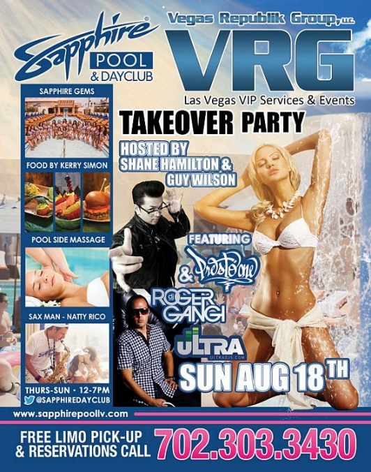 Vegas Republik Group Takes Over Sapphire Pool & Dayclub with Shane Hamilton, Guy Wilson and Presto One Sunday, August 18