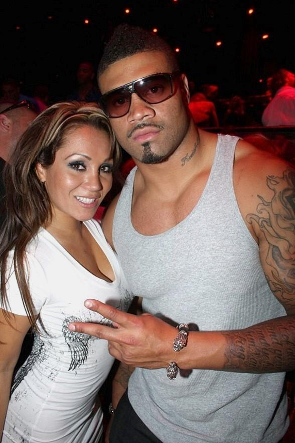 Shawne Merriman and MILF winner Connie Pena at The Bank