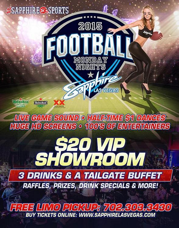 Sapphire Gems host Monday Night Football Tonight (9/21) Jets vs. Colts with $1 Halftime Dances