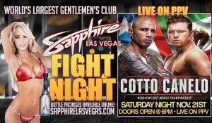 """Sapphire Las Vegas to host Viewing Party for """"Fight of the Year"""" Miguel Cotto vs. Canelo Alvarez Saturday, November 21"""