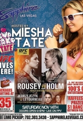 "Miesha ""Cupcake"" Tate to Host UFC 193 ""Rousey vs. Holm"" Viewing Party at Sapphire Las Vegas Saturday Nov. 14"