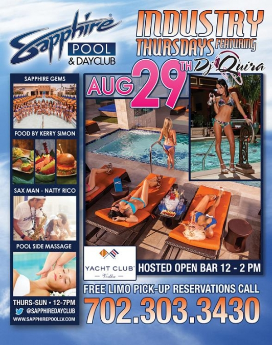 DJ Quira, DJ Truelove and DJ Casanova Perform at Industry Thursday at Sapphire Pool & Dayclub August 29