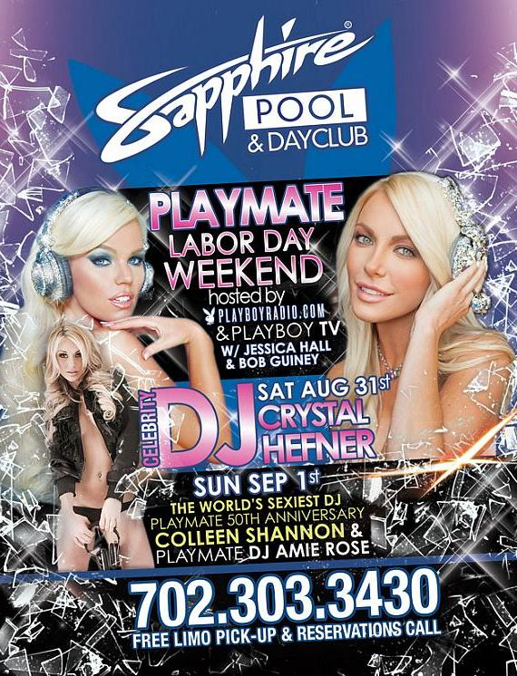 "Crystal Hefner to host ""Playboy Playmate Weekend"" at Sapphire Pool and Dayclub with Colleen Shannon and Aimee Rose on Labor Day Weekend"