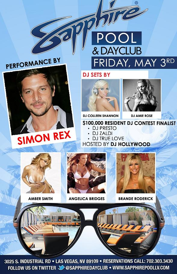 Sapphire Las Vegas Celebrates Cinco de Mayo May 3-5 with Pam Anderson, Adrian Grenier, Coco, Dennis Rodman, Crystal Hefner, Amber Smith and Simon Rex