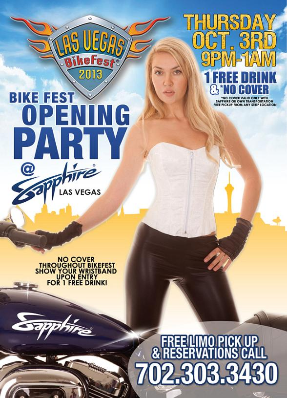 Sapphire Pool & Dayclub to Host Bike Fest Opening Party, Thursday, Oct. 3
